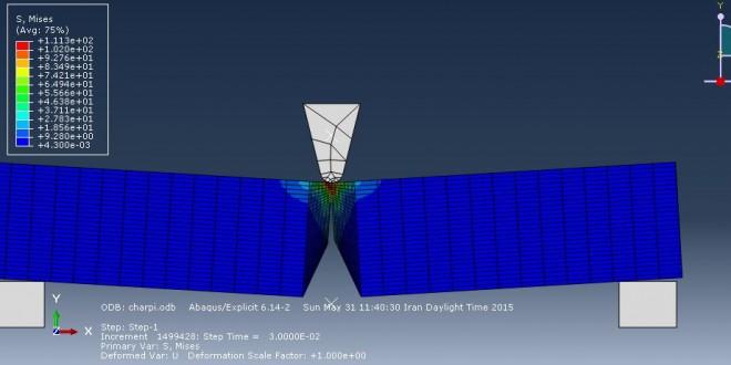 شبیه سازی تست شارپی در نرم افزار آباکوس