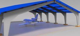 فایل سه بعدی سازه ی سوله هواپیما کار شده در revit